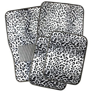 Oxgord Snow White Leopard Style Floor Mats with Rubberized Spiked Padding