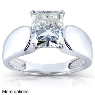 Annello 14k White Gold Radiant Moissanite Solitaire Ring