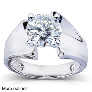 14k Gold Round-cut Moissanite Solitaire Ring
