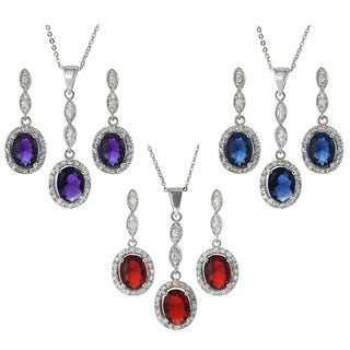 Tressa Collection Sterling Silver Cubic Zirconia Oval Jewelry Set