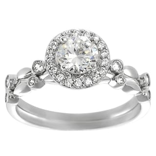 Tressa Collection Sterling Silver Round-cut Cubic Zirconia Bridal Ring
