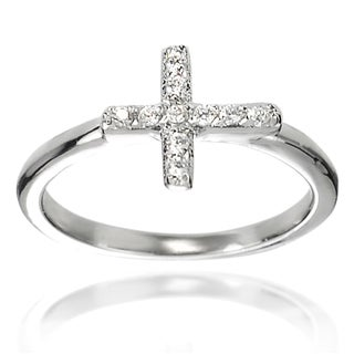 Tressa Collection Sterling Silver Cubic Zirconia Holy Cross Ring