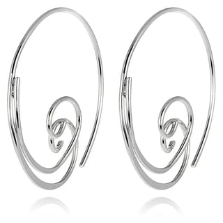 Tressa Collection Sterling Silver Spiral Hoop Earrings