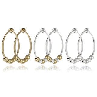 Journee Collection Sterling Silver Bead Hoop Earrings