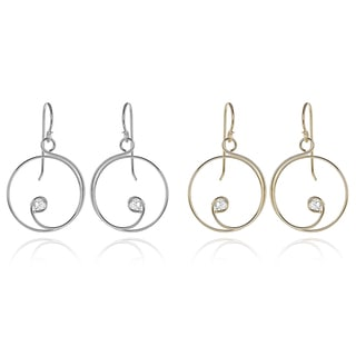 Tressa Collection Sterling Silver Cubic Zirconia Spiral Dangle Earrings