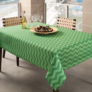 Benson Mills Green Zig Zag Indoor/ Outdoor Tablecloth