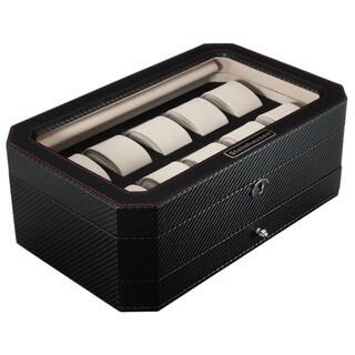Steinhausen Black Carbon Fiber Pu Leather 10-plus Unit Watch Case