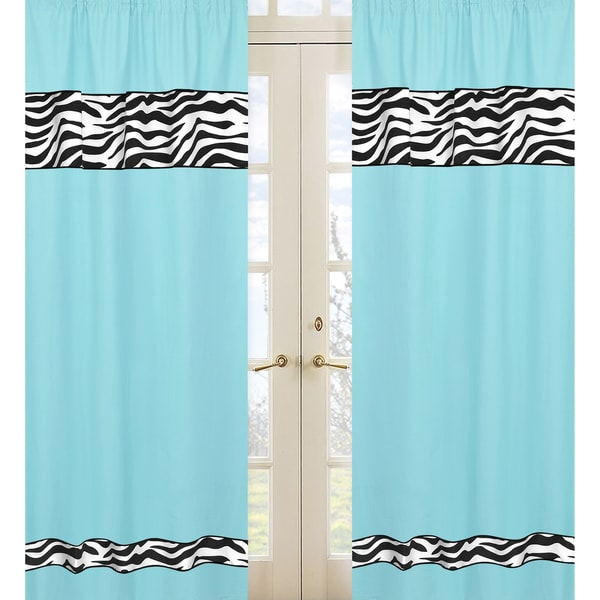 Turquoise Funky Zebra 84-inch Curtain Panel Pair