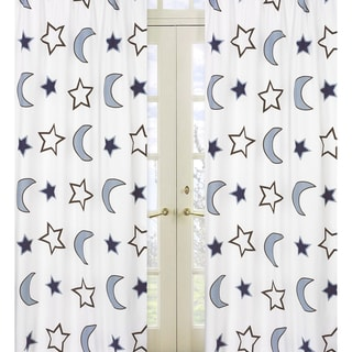 Sweet Jojo Designs Blue Chocolate Brown and Crisp White 84-inch Window Treatment Curtain Panel Pair for Starry Night Collection