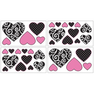 Sweet JoJo Designs Pink and Black Madison Wall Decal Stickers