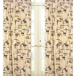 Wild West Cowboy and Horses 84-inch Curtain Panel Pair