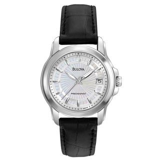 Bulova Women's 'Precisionist' Leather Strap Steel Watch