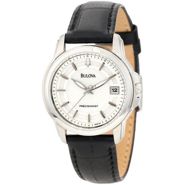 Bulova Women's 'Precisionist' Leather Strap Steel Watch