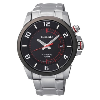 Seiko Men's 'Kinetic' Stainless Steel Black Dial Automatic Watch