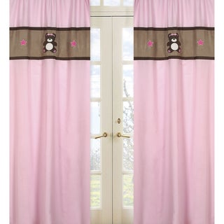 Pink and Chocolate Teddy Bear 84-inch Curtain Panel Pair