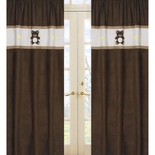 Chocolate Teddy Bear 84-inch Curtain Panel Pair