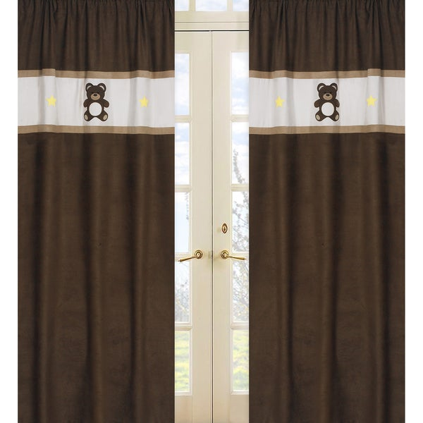 Chocolate Teddy Bear 84-inch Curtain Panel Pair