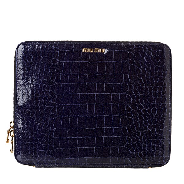 Miu Miu Women's 'St. Cocco Lux' Croc Embossed Leather iPad Case