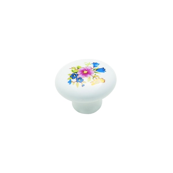 Amerock 1.25-Inch Decorative Floral Ceramic White Knob (Pack of 5)