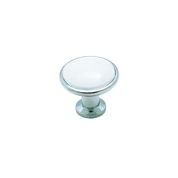 Amerock Traditional Chrome & White Cabinet Knob (Pack of 5)