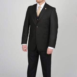 Stacy Adams Men's Black Two-button Vested Suit