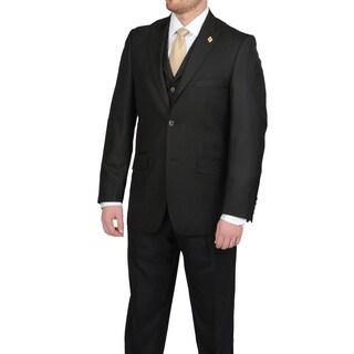 Stacy Adams Men's Black Two-button Vested Suit