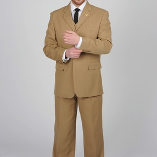 Stacy Adams Men's Taupe 3-button Vested Suit
