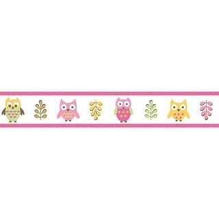 Sweet JoJo Designs Pink Happy Owl Wall Border