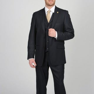 Stacy Adams Men's Navy Two-button Vested Suit