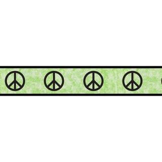 Sweet JoJo Designs Lime Groovy Peace Sign Wall Border