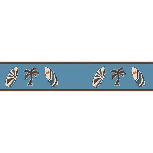 Sweet JoJo Designs Tropical Hawaiian Blue Surf Wall Border