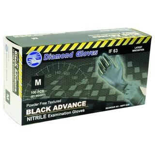 Diamond Gloves Black Powder-free Nitrile Textured Examination Gloves (Case of 1,000)