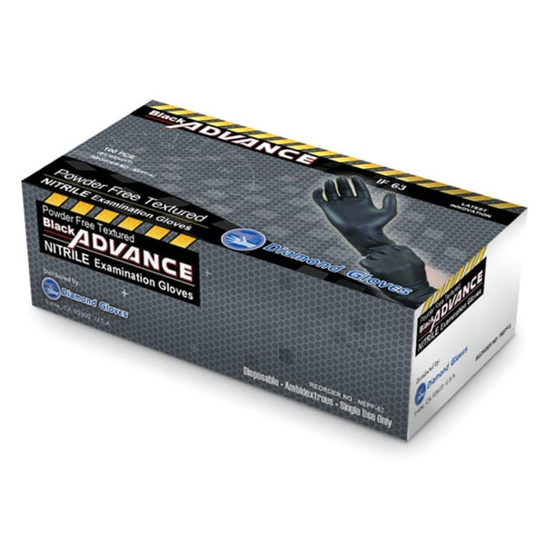 Diamond Gloves Black Powder-free Nitrile Textured Examination Gloves (Case of 1,000)