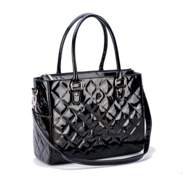 JP Lizzy Classic Black Patent Diaper Bag