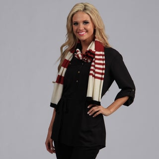 Peach Couture Red/Black/White Striped Cashmere and Wool Blend Scarf