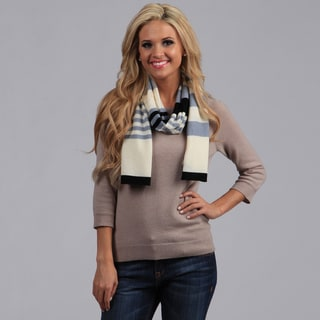 Peach Couture Striped Cashmere and Wool Blend Scarf