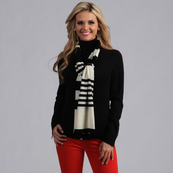 Cashmere/ Wool Blend Black and White Striped Scarf