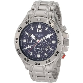 Nautica Men's NST Chrono N19509G Silver Stainless-Steel Blue Dial Quartz Watch