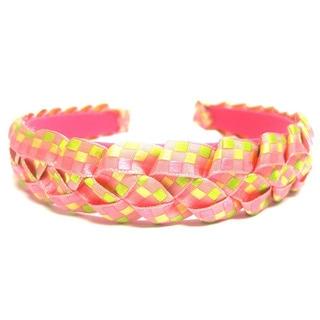 Crawford Corner Shop Pink Yellow Green Braided Ribbon Headband