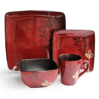Elise Red Stoneware 16-piece Dinner Set