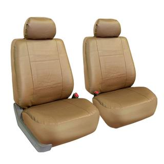 FH Group Tan PU Leather Universal Fit Front Bucket Seat Covers (Set of 2)
