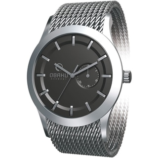 Obaku Men's V124GCBMC Silver Stainless-Steel Black Dial Quartz Watch