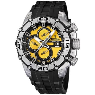 Festina Men's F16600/5 Black Rubber Yellow Dial Quartz Watch