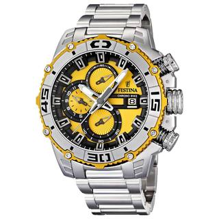 Festina Men's Tour De France F16599/5 Silver Stainless-Steel Yellow Dial Quartz Watch