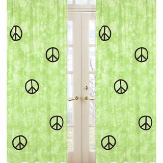 Lime Groovy Peace Sign Tie Dye 84-inch Curtain Panel Pair