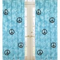 Groovy Turquoise Peace Sign Tie Dye 84-inch Curtain Panel Pair