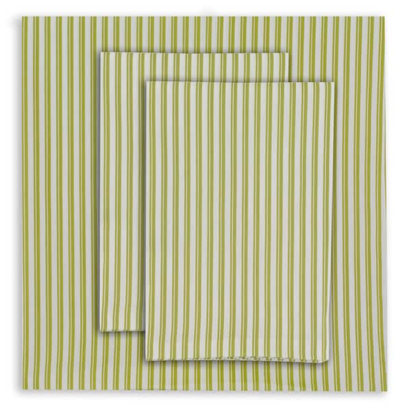 Oilo Twin-striped Spring Green Sheet Set and Pillowcase Seperates