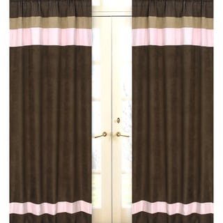 Pink and Chocolate 84-inch Curtain Panel Pair