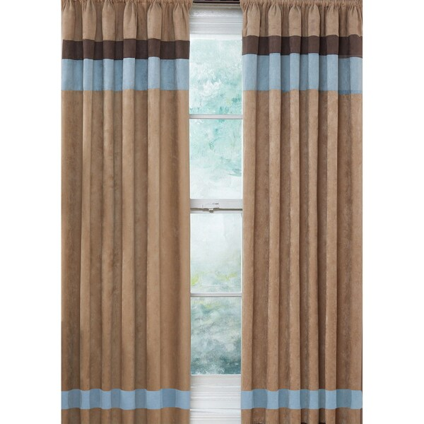 Sky blue chocolate brown and camel 84 inch window treatment curtain