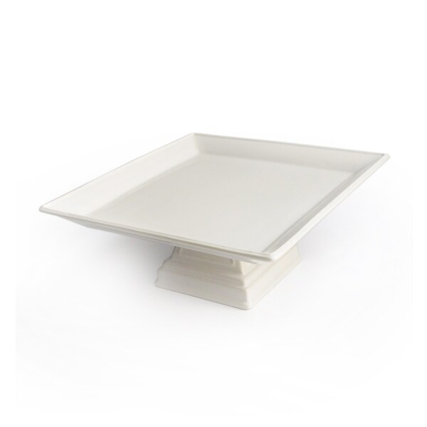 American Atelier Bianca Ivory Square Pedestal Plate